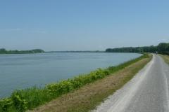 Der Rhein hat nun schon eine mächtige Breite erreicht.