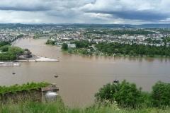 Blick auf das deutsche Eck, an der Mündung von Mosel und dem Rhein.