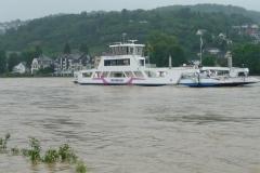 Die Fähre Linz-Remagen fährt zum Glück auch bei Hochwasser.