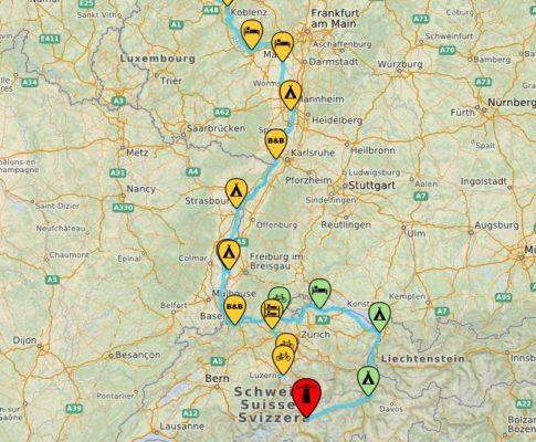 Die Rheinradweg-Route